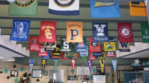 Flags from many colleges hanging from the ceiling