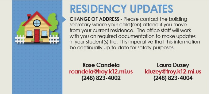 Residency updates, including how to change your address.