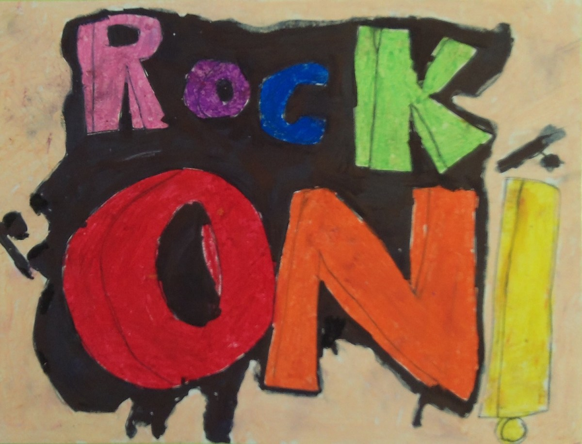 """A 3rd grader's piece of word art reading """"ROCK ON"""" in very colorful letters."""