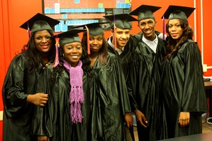 Students on graduation day Invictus High School Cleveland, Ohio