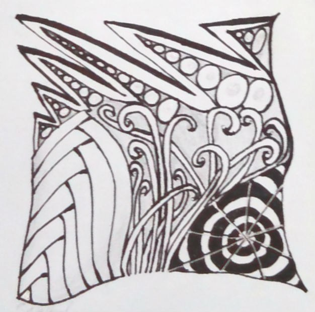 Drawing of zentangle patterns