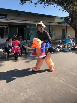 A student in an ostrich costume.