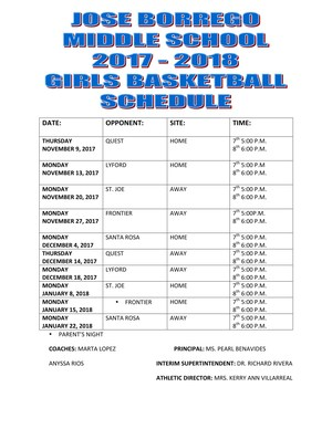 Girls Schedule for Basketball