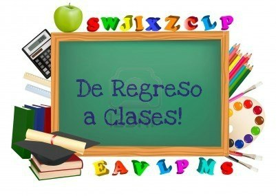 School supplies, surrounding a chalkboard with the words: De regreso a clases!
