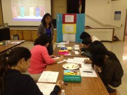 Brightwood parent volunteer Christine Hum assists fellow parents in practicing Thinking Maps. The maps are linked directly to eight cognitive thought processes, making learning and studying more visual to students