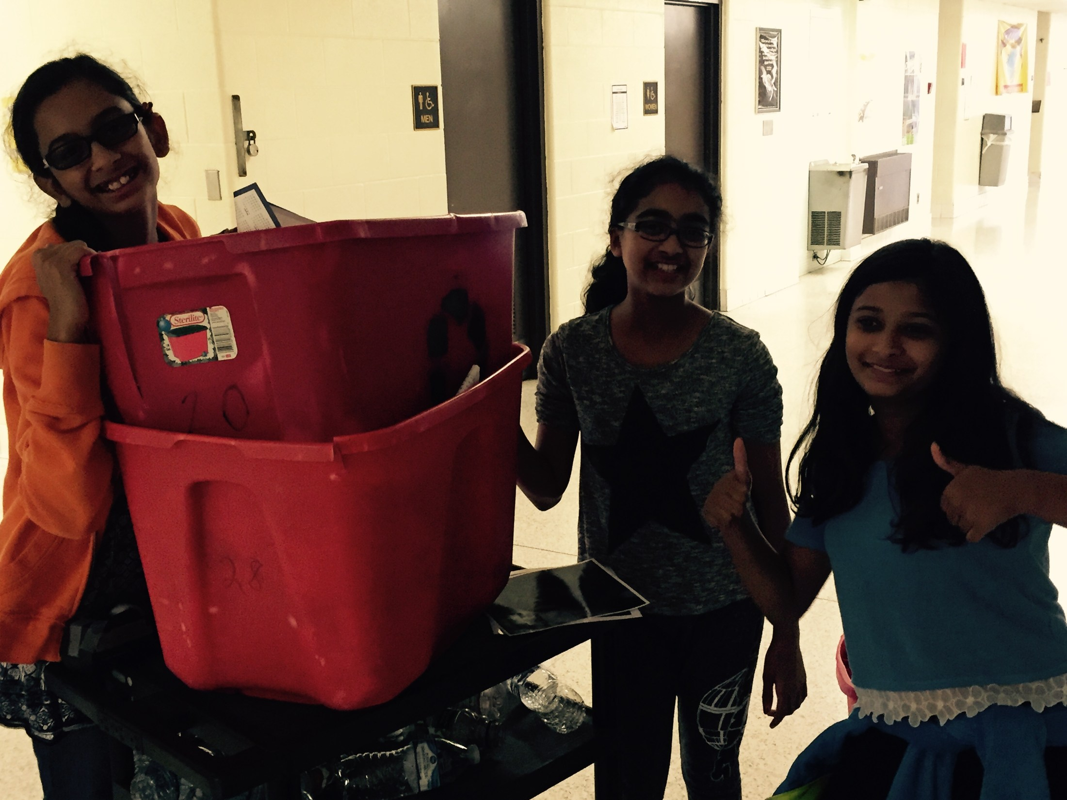 green students recycling