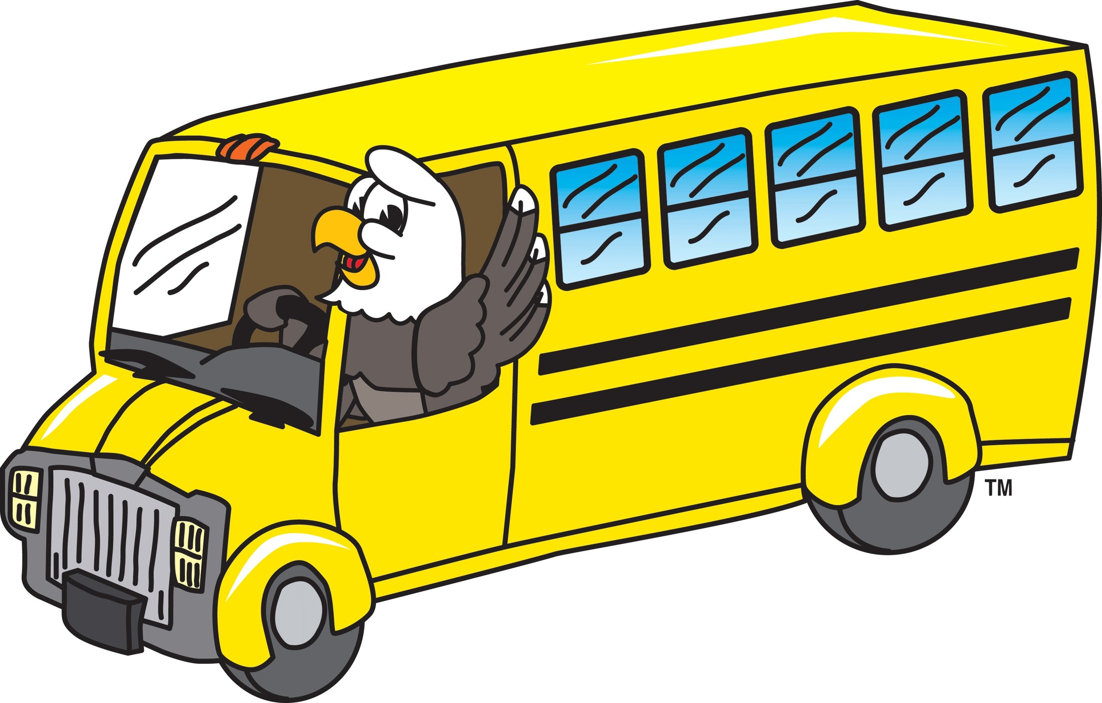 Eagle on a school bus