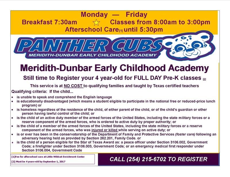 Meridith-Dunbar Enrollment Flyer
