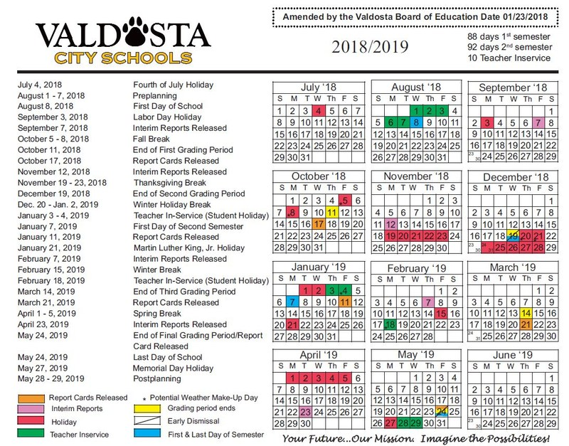 Revised 2018-2019 School Calendar