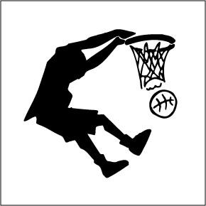 boy dunking basketball clip art
