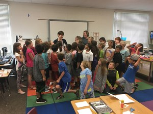 Jessica Duersch is congratulated by a class she guest teaches. Jessica has been chosen for Tooele County School District Guest Teacher for 2016-2017.