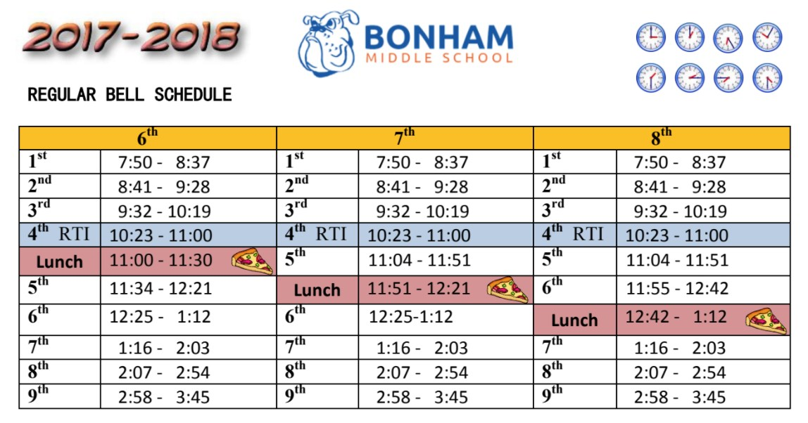 Bonham Bell Schedule for 2017-2018