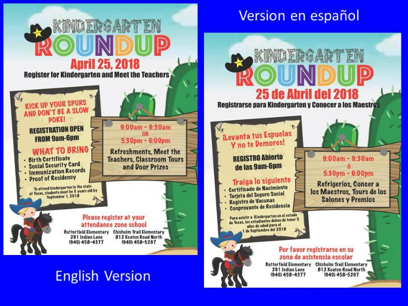 Kindergarten Roundup Flyers with information on when and where to register for 2018-2019 school year. One side is in English and the other is in Spanish
