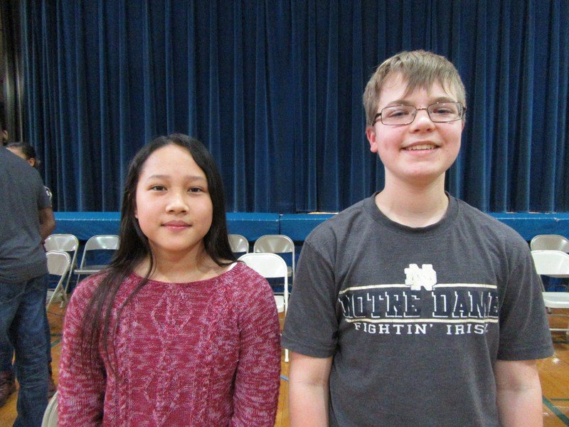 Spelling Bee winners Jillian Cadungog and Ryann Lach pictured.