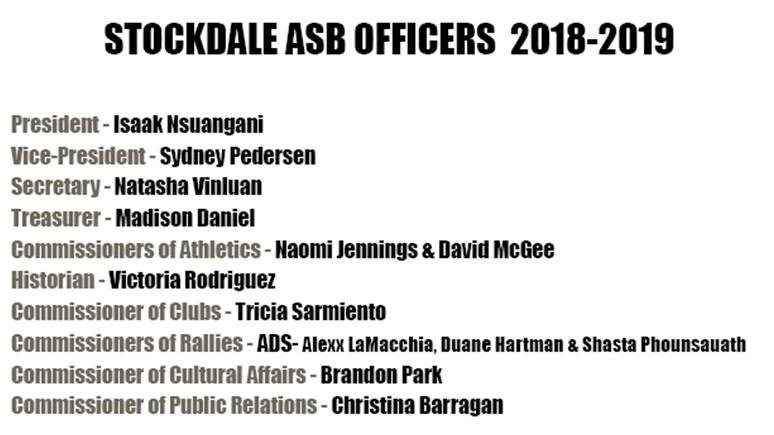 2018-19 ASB Officers