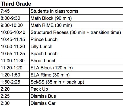 Image of 3rd grade regular schedule
