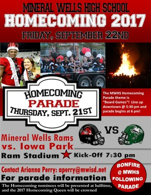 Homecoming 2017 Flyer for Sept 21 & 22