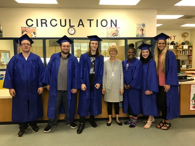 6 students from MHS during the senior walk.