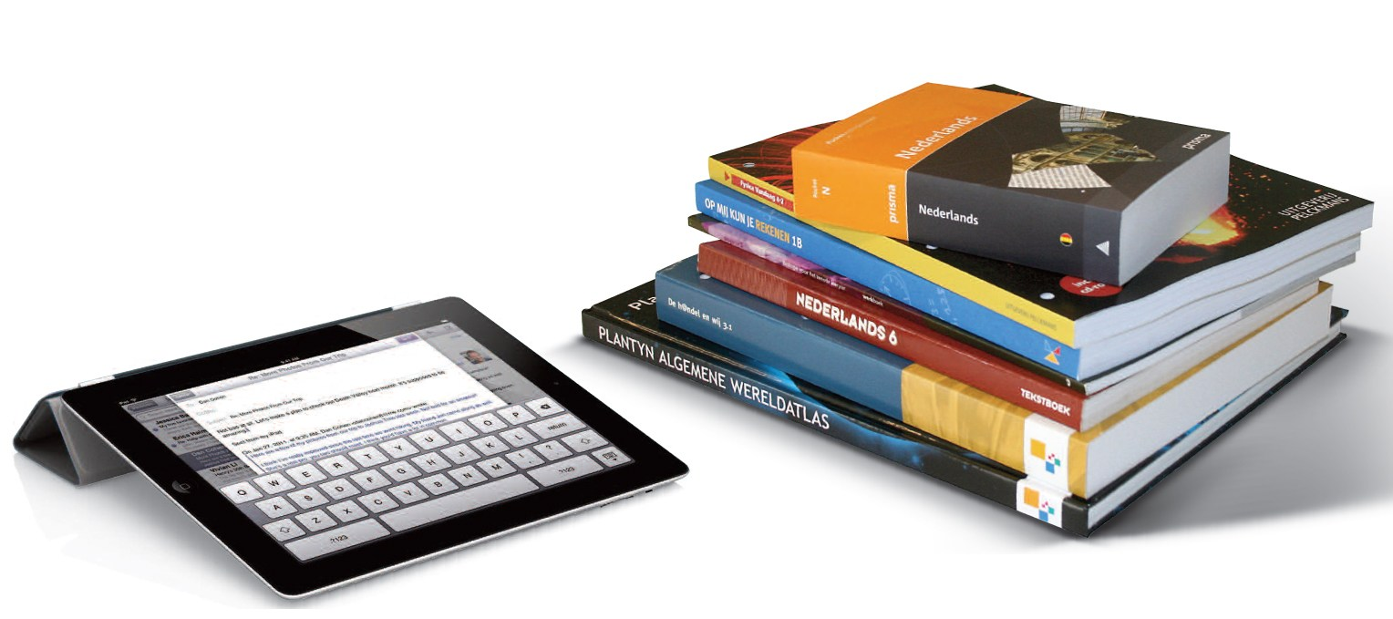 Photo of an iPad and some books.