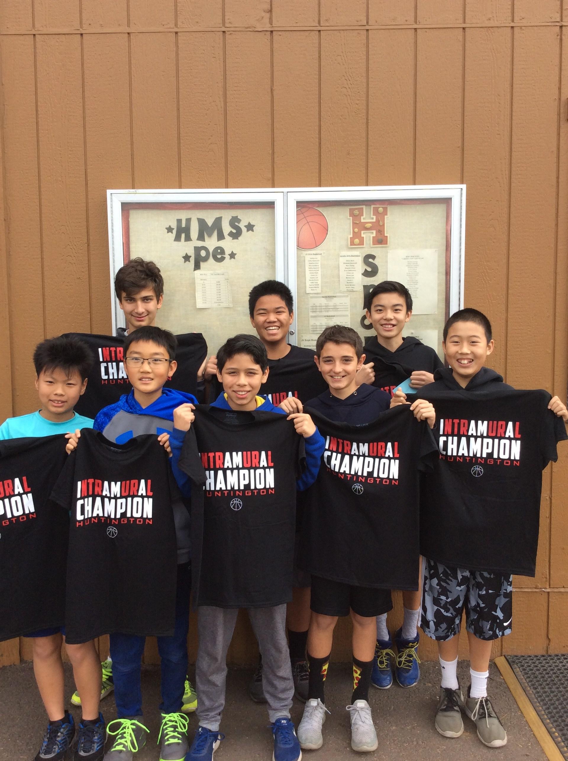 Boys Intramural Basketball Champions