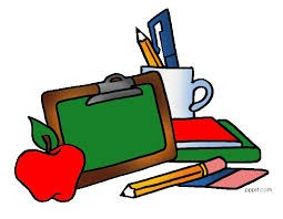 school supplies apple and chalk board