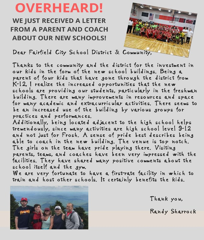 Image of OVERHEARD! testimonial by Randy Sharrock, a parent and coach in the district. He is talking about what he likes best about our new schools. The image is a photo of the pdf file with the same information.