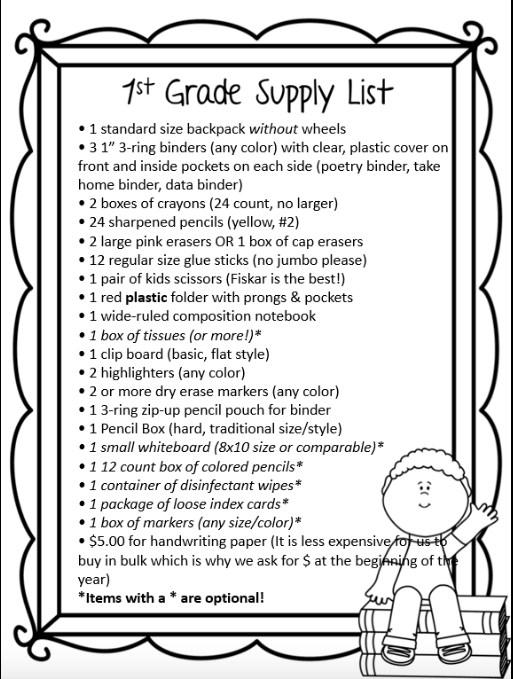 2017-2018 Supply List