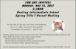 Spring Title 1 parent meeting