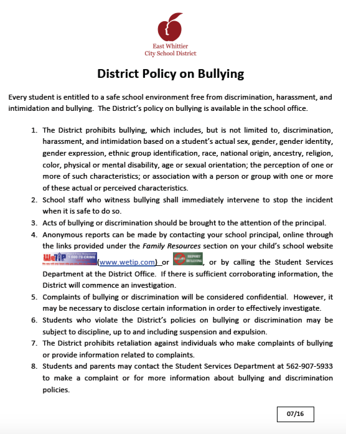 EWCSD district policy on bullying in English