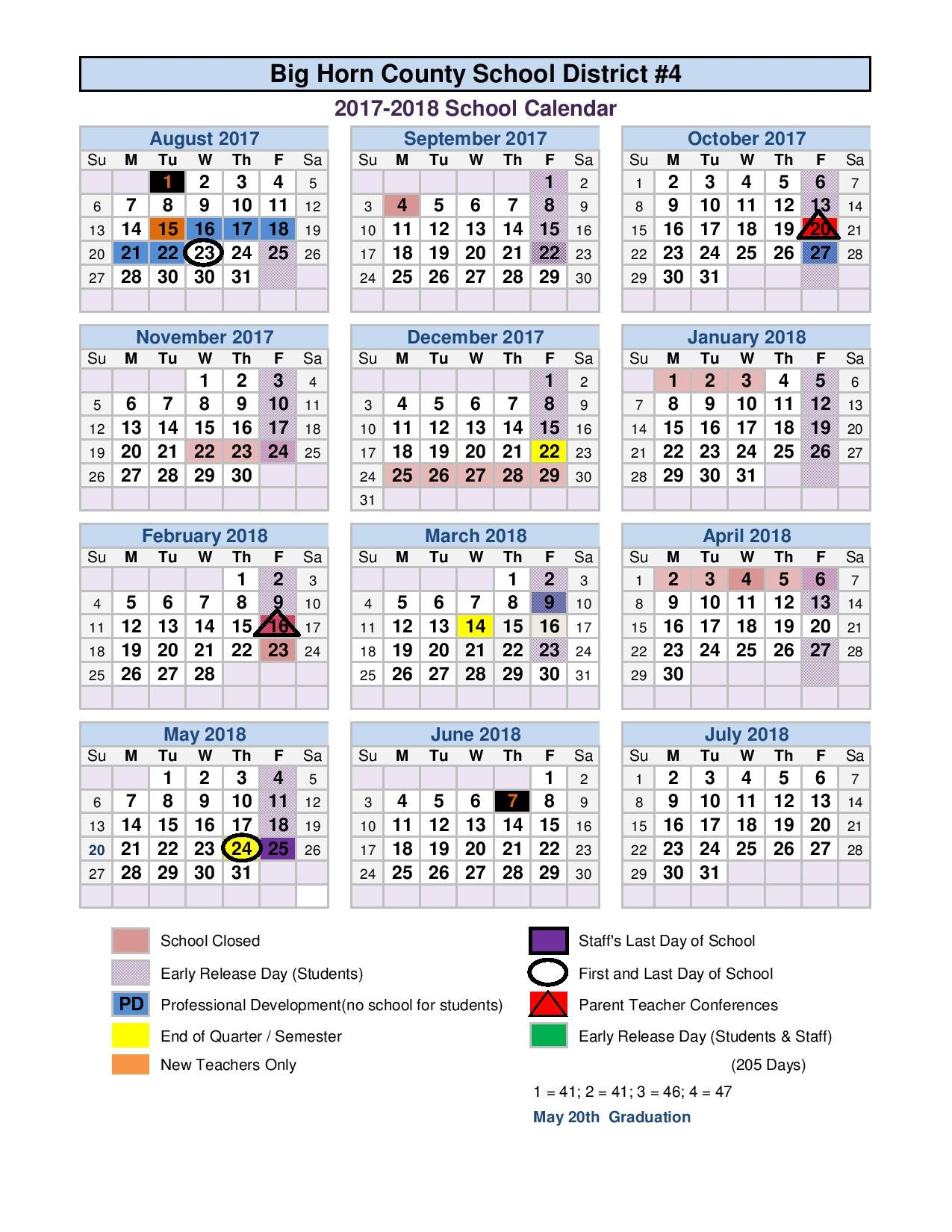 School Calendar for 2017-2018