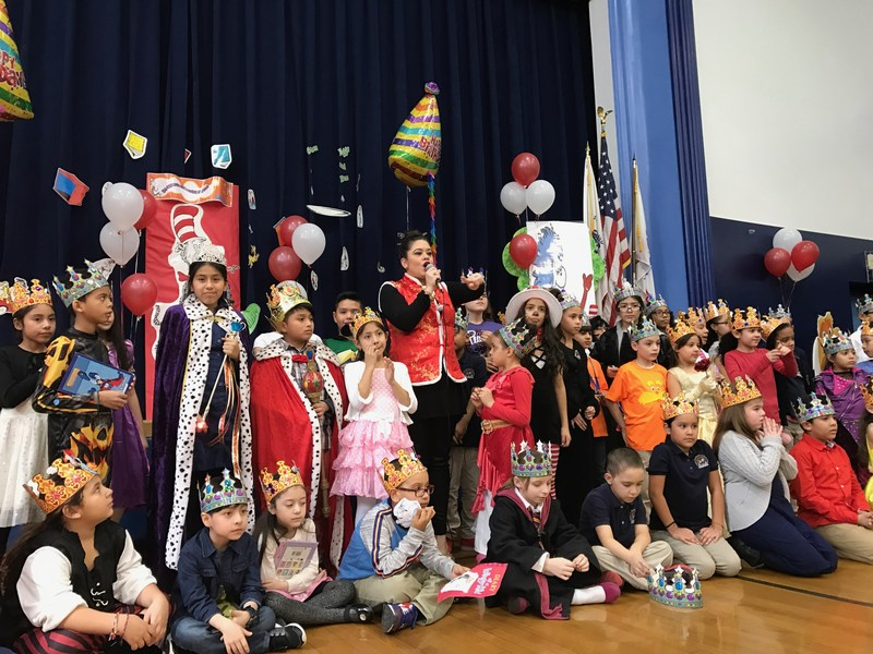 Students gathered in Read Across America assembly