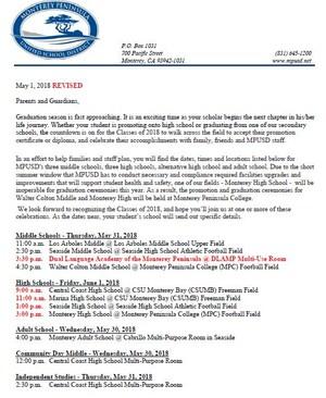 MPUSD Graduation Times & Locations