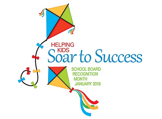 Kites flying representing the Soar to Success Logo for School Board Recognition Month January, 2018
