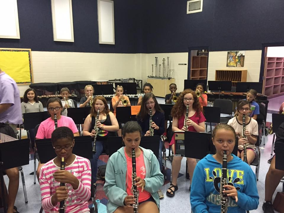Band students playing instruments