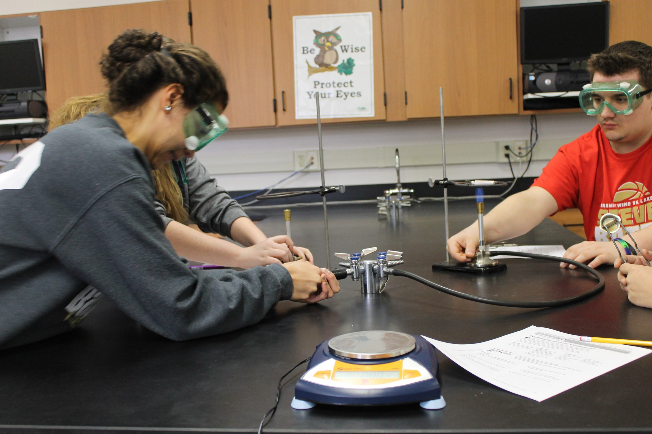 Mr Derucki's chemistry class doing experiments.