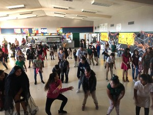 The 4th and 5th grade students dancing during the Halloween Celebration.