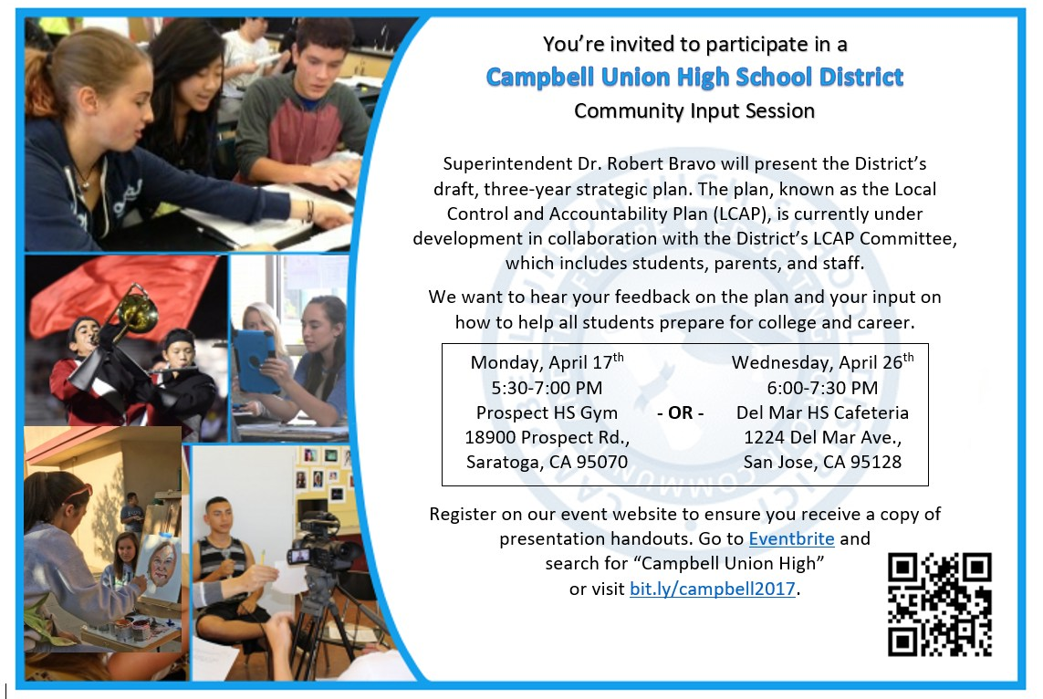 "Flyer for April 17 and April 26 Community Input Sessions - Visit Eventbrite for more information. Search for ""Campbell Union High"""