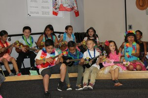 Second grade ukulele performance
