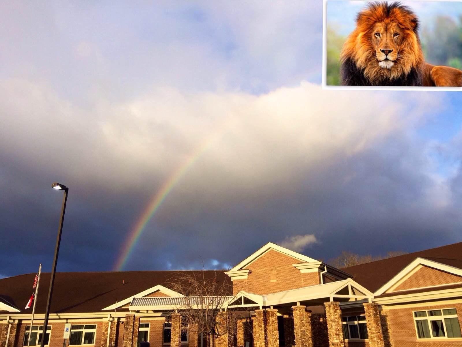 Rainbow shinning over the school