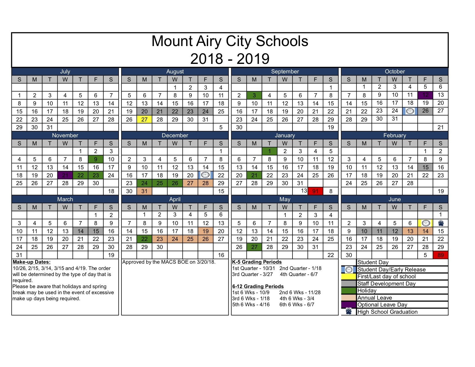 Calendars - Academic Year – About Mount Airy City Schools ...