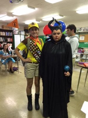 me as Maleficent and Katlyn as the boy from UP