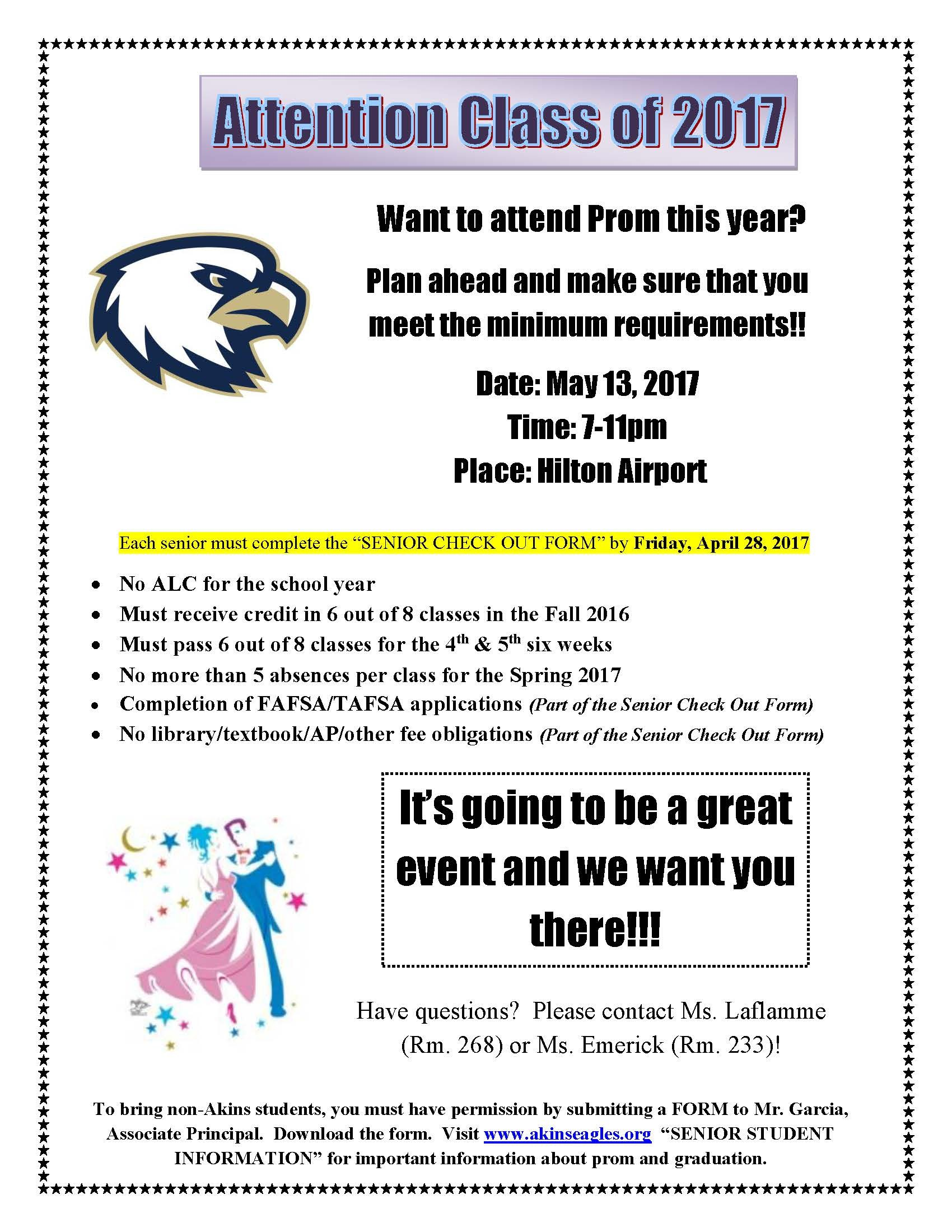 2017 Prom Visitor Application For Akins