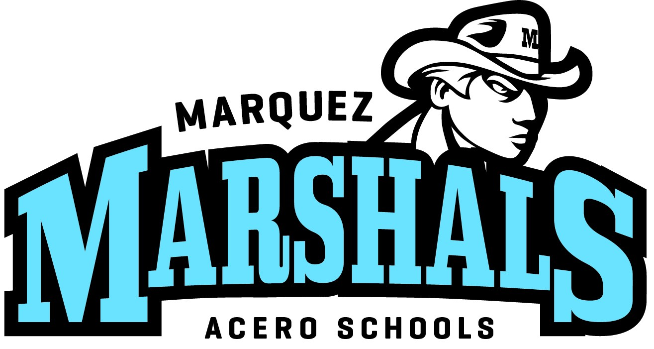 The school logo, which depicts a Marshal, above the school name and mascot.