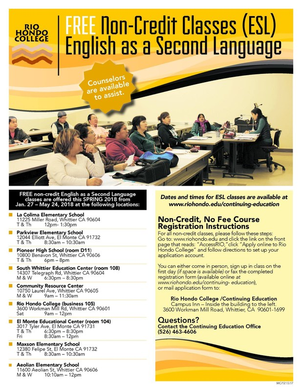 FREE Non-Credit Classes: English as a Second Language Coming to Aeolian Featured Photo