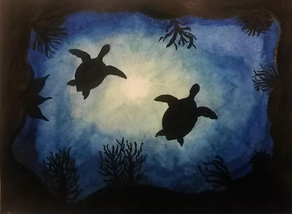 Student Artwork-Painting of turtles swimming in the ocean