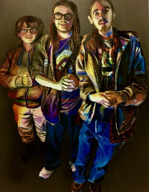 Painting of three young men standing tall.