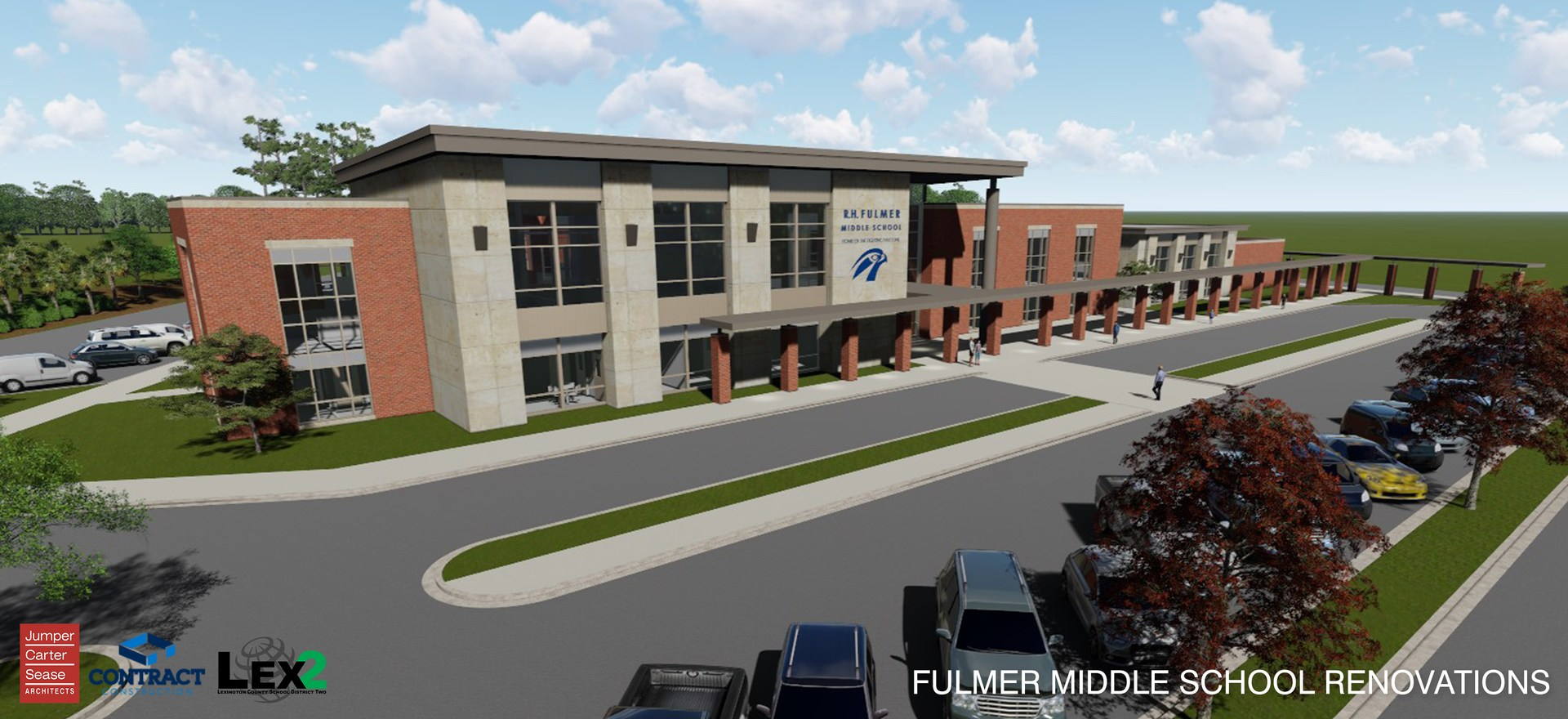 Architect's rendering of Fulmer Middle School exterior front.