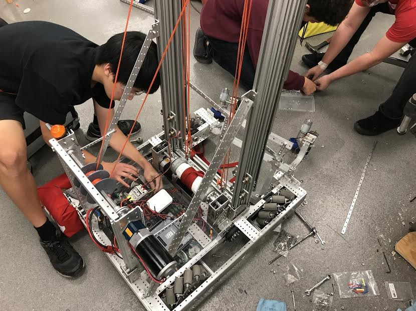 Arcadia High student working on a robotics assignment