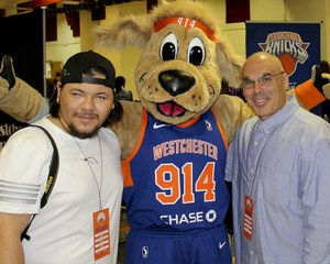 Kevin witht the team mascot and teacher Anthony Apuzzi