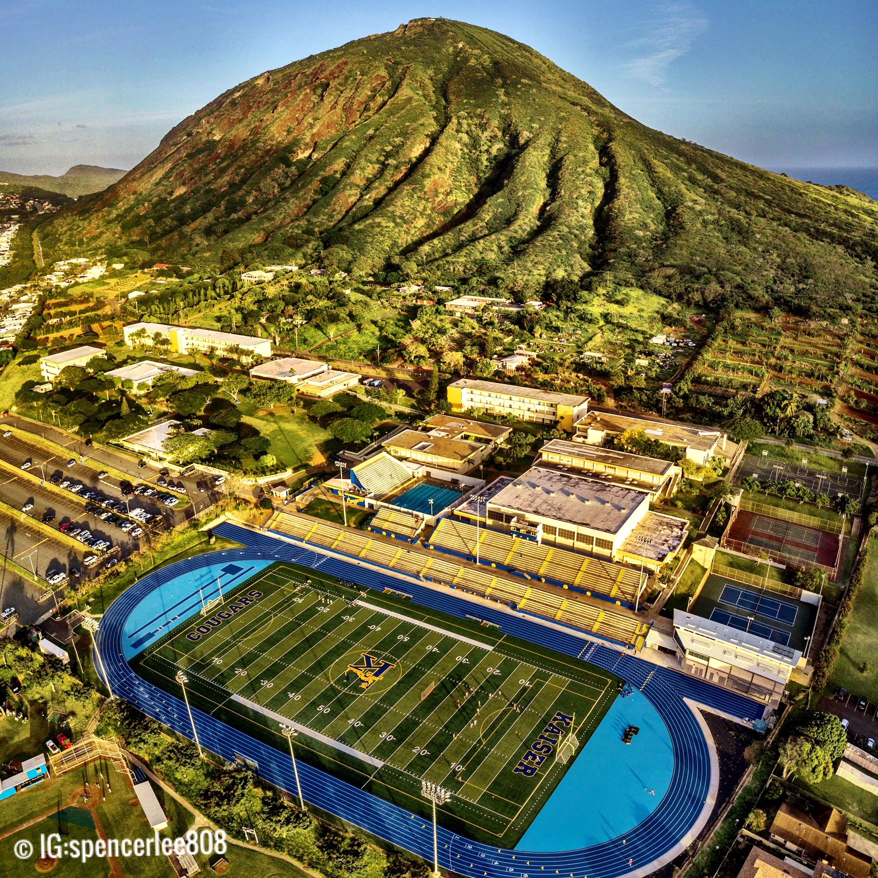 Picture of the campus from the field to the top of Koko Head. Photo credit Spencer Lee.